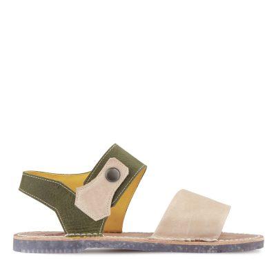 sandalia beige y kaki