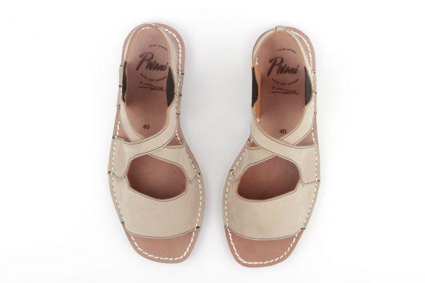 sandalias menorquinas beig para mujer