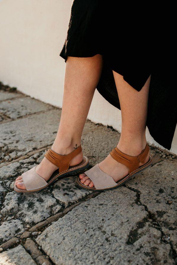 sandalias menorquinas mujer beluga detalle